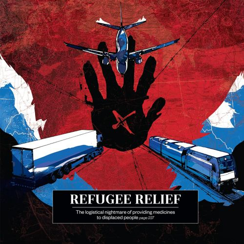 editorial illustration of aircraft and train for refugee relief