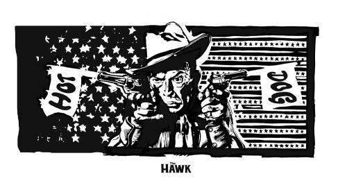 American cowboy portrait with gun
