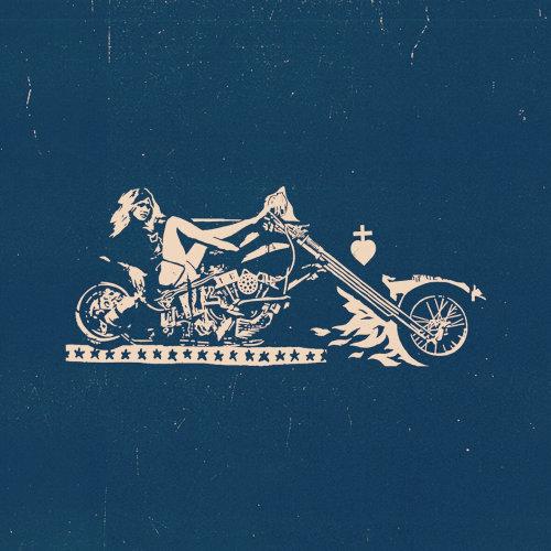 自行车骑士牛仔风格的社论插图