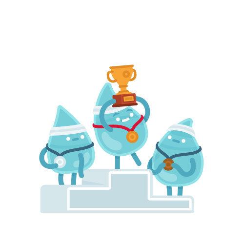 Ilustración de dibujos animados podio carrera de gotas de lluvia
