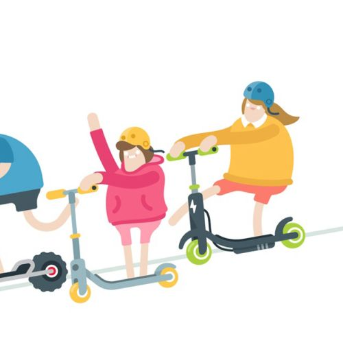 Scooter Family vector illustration
