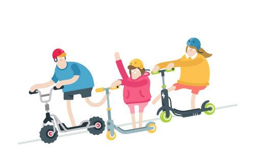 Ilustración de vector de familia Scooter