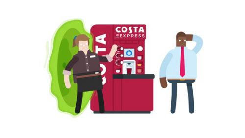 Animación de café Costa Express para redes sociales