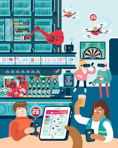 Ilustración editorial para la sección de alimentos y bebidas de una revista.