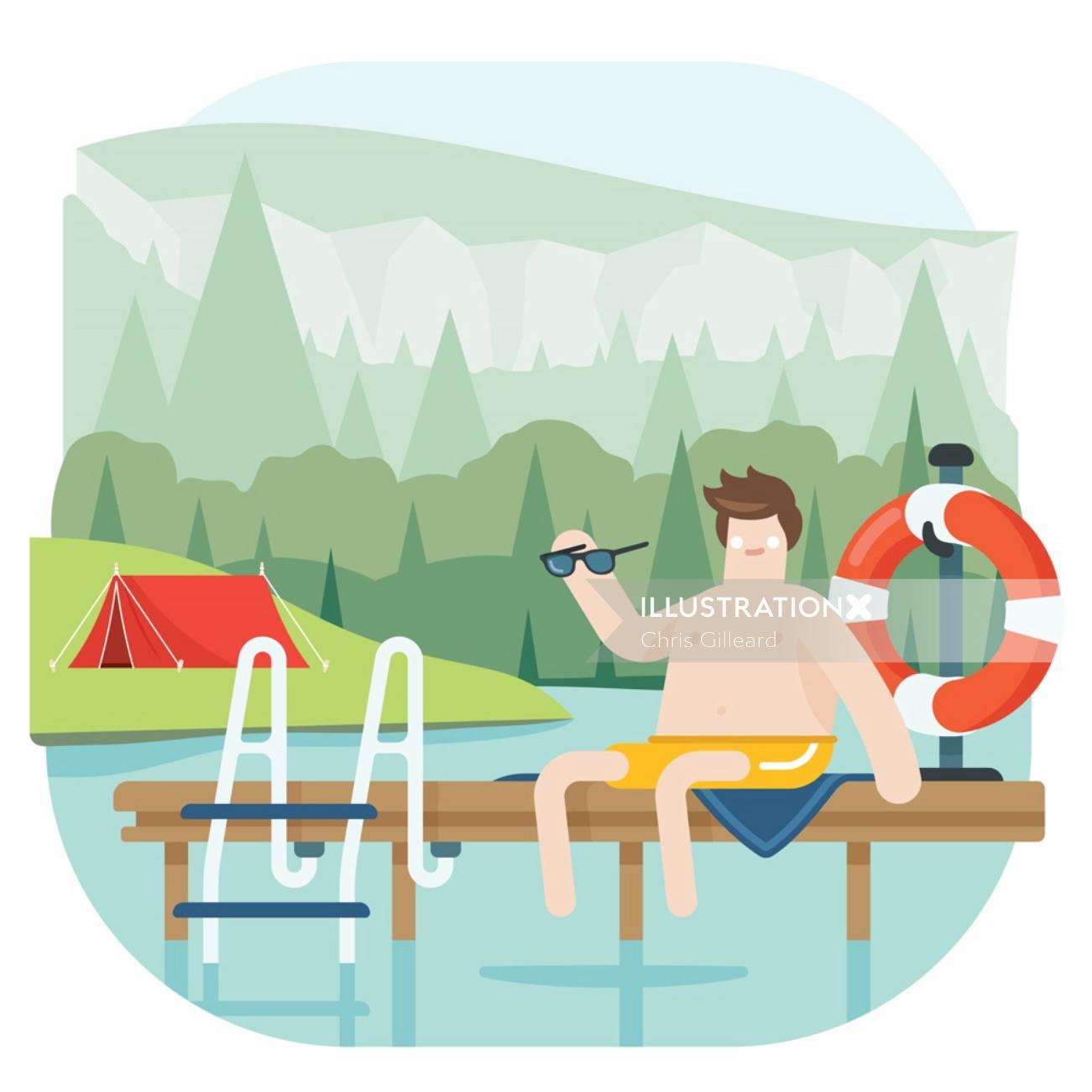 man at camping spot
