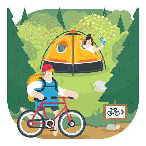 Ilustración de camping