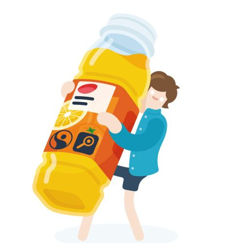 man holding an orange juice bottle vector art