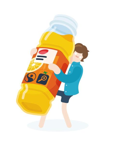 Hombre que sostiene una botella de jugo de naranja arte vectorial