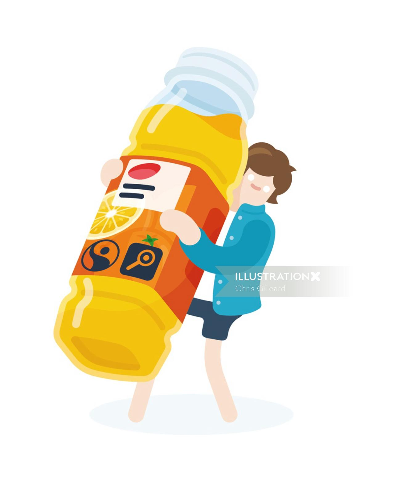 man holding an orange juice bottle vector art