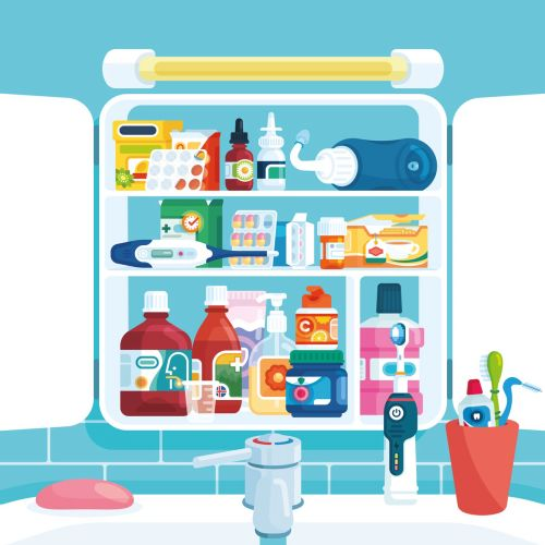 Medicine cabinet spread illustration