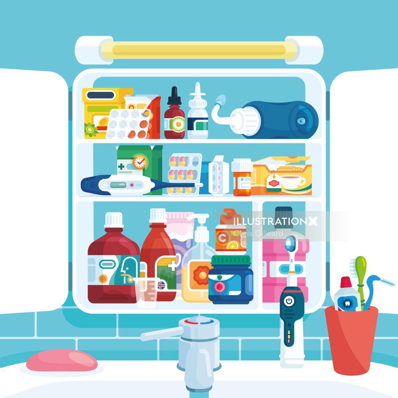 Medicine cabinet spread illustration