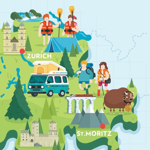 Ilustración de tipografía suiza mapa destacado