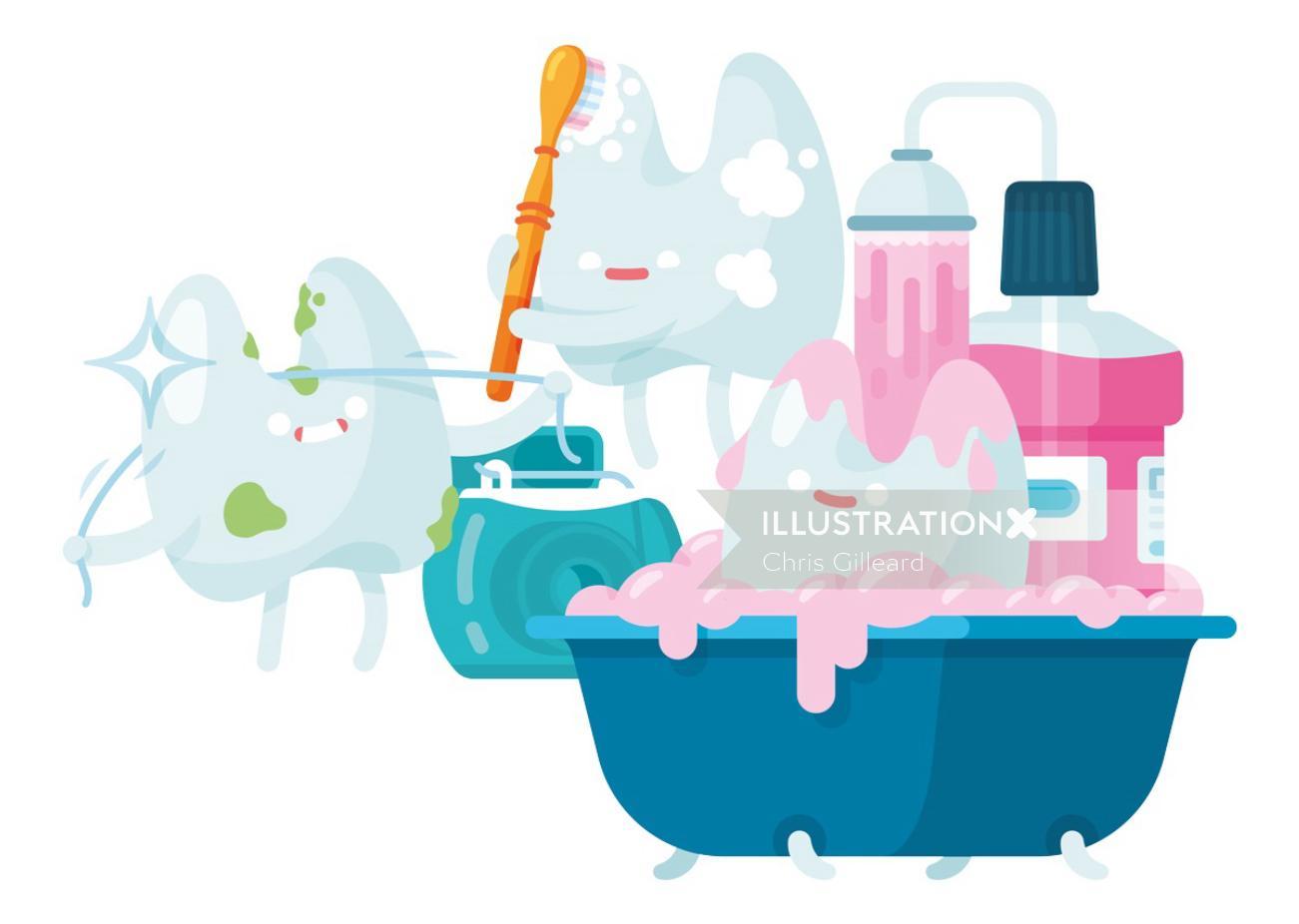 Tooth cartoon illustration