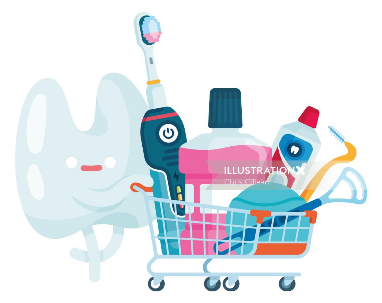 Tooth cartoon showing toothbrush and toothpaste for vivai magazine