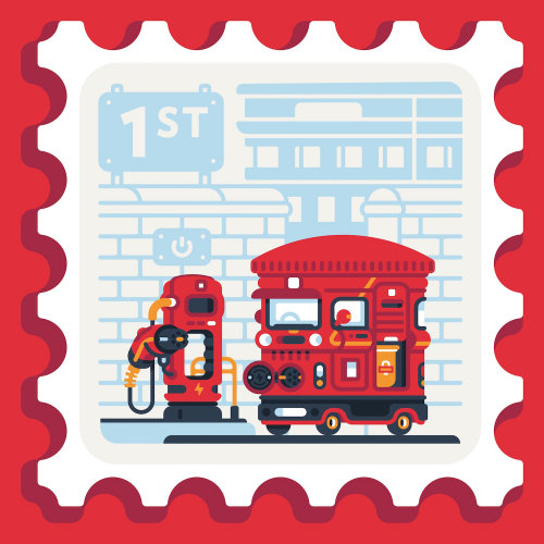 Graphic illustration of royal mail box and electric van