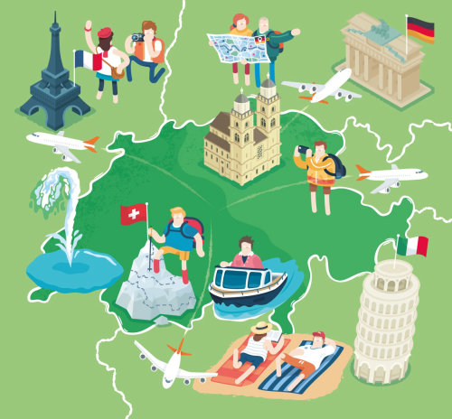 Architectural map illustration of Swiss Holiday Makers