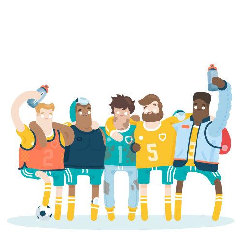 Ilustración de persona de deporte de trabajo en equipo por Chris Gilleard