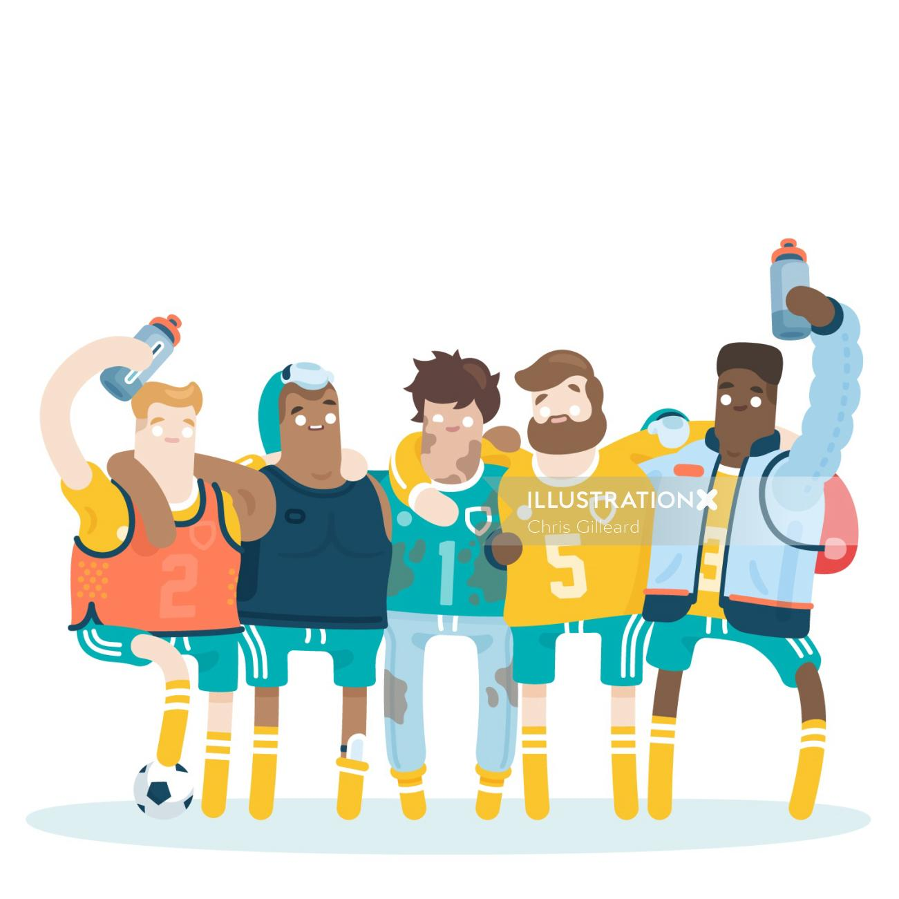 Teamwork sport person illustration by Chris Gilleard