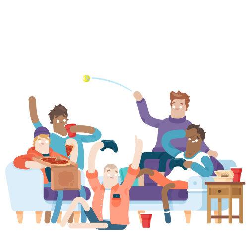 ilustración gráfica de compañeros de casa