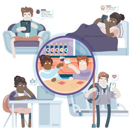 Ilustración editorial de adictos a las redes sociales