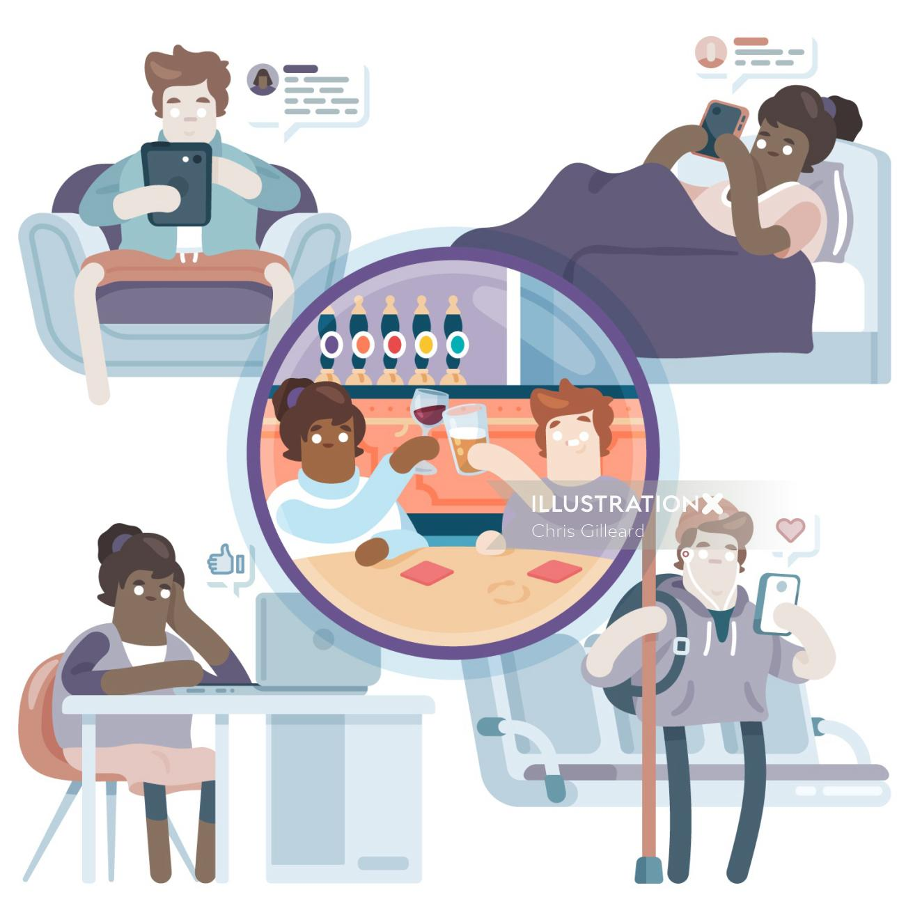 editorial illustration of social media addicts