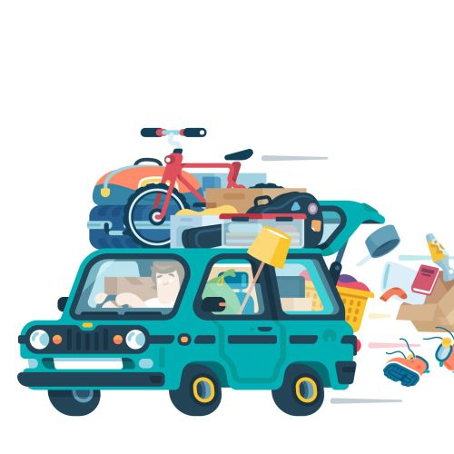 illustration of moving home from university