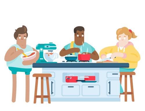 amigos cocinando juntos