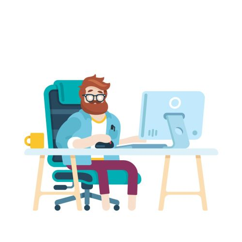 graphical illustration of man sitting on desk at job