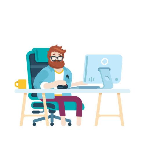 Ilustración gráfica del hombre sentado en el escritorio en el trabajo