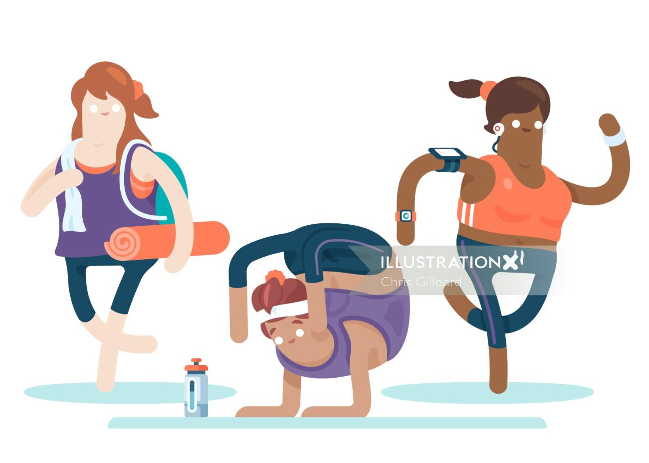 exercise to stay fit illustration by Chris Gilleard