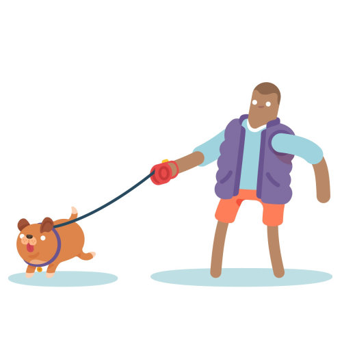 Ilustración vectorial de hombre y perro caminando