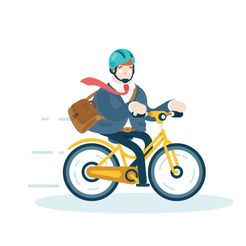 man going to work on bike