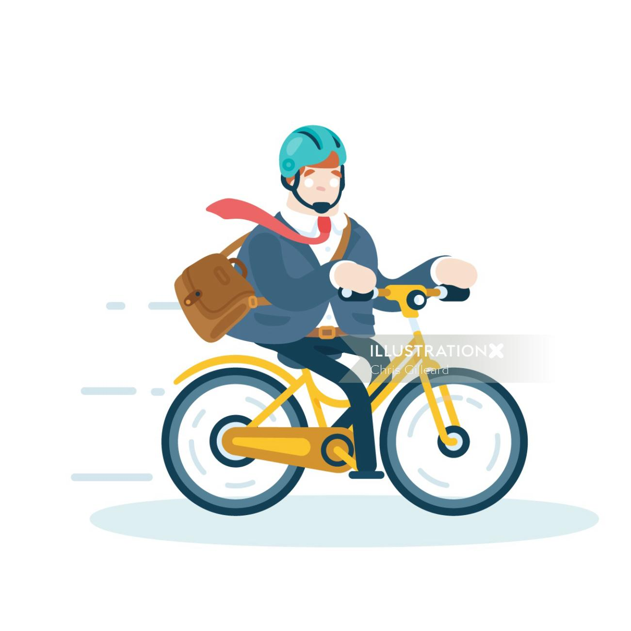 man going to work on bike