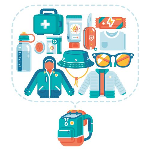 graphic illustration of migros hiking backpack contents