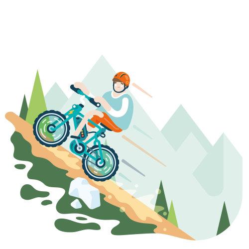 Ilustración gráfica de Migros en bicicleta eléctrica