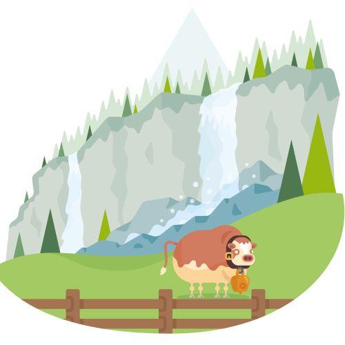 Migros Swiss Valley nature illustration