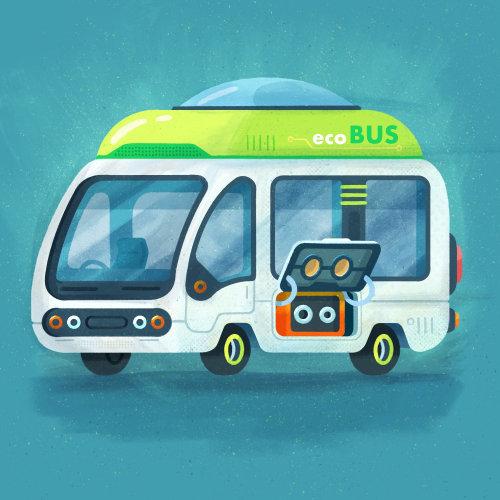 Ilustración conceptual del autobús ecológico