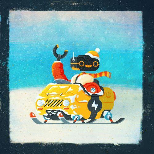 Retro illustration of Snow mobile Robot