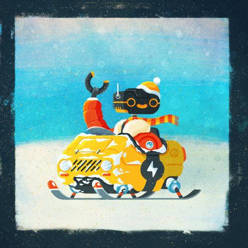 Ilustración retro del robot móvil Snow