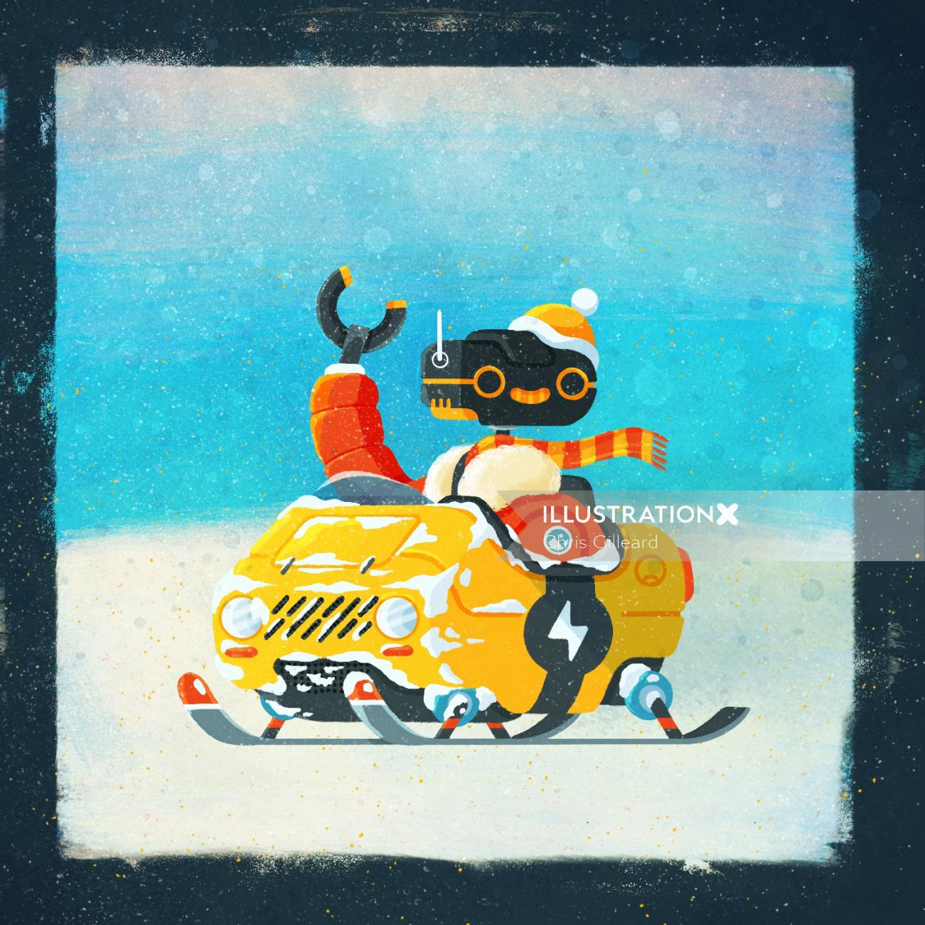 Retro illustration of Snow mobile Robot