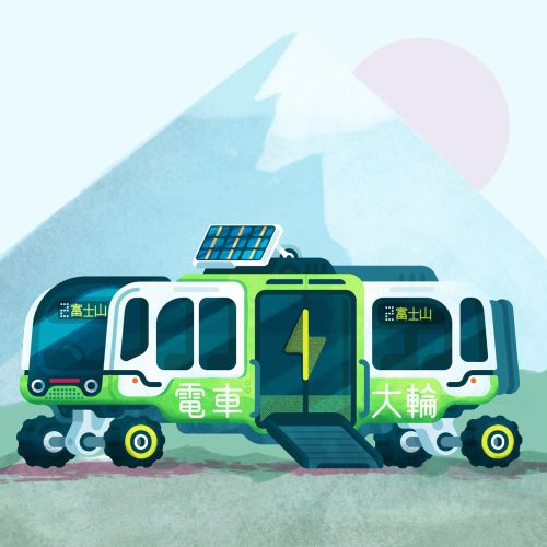 Electric Japanese Bus vector illustration