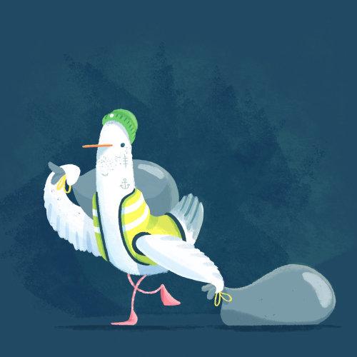 Sea Gull bin man Cartoons and Comics