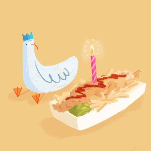 Brushstroke illustration of Seagull Birthday Cake