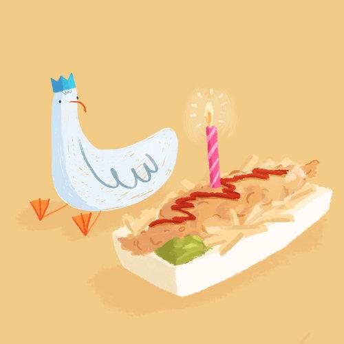 Brushstroke illustration of Seagull Birthday Cake
