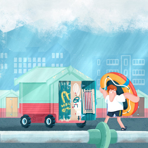 Illustration graphique de voiture de cabane de plage