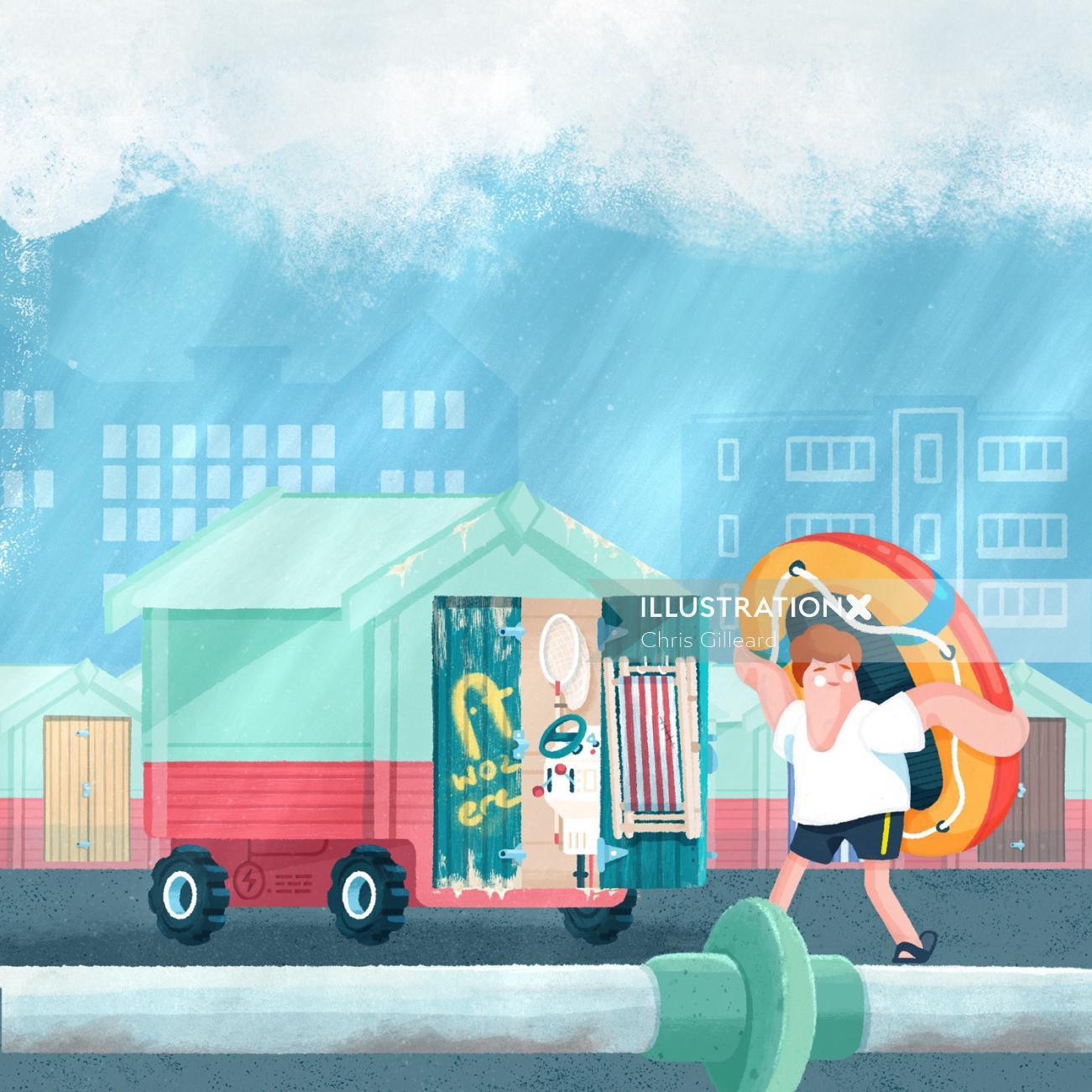 Beach Hut Car graphical illustration