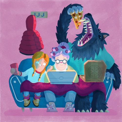 monstres et personnes travaillant sur des contes de fées pour ordinateur portable