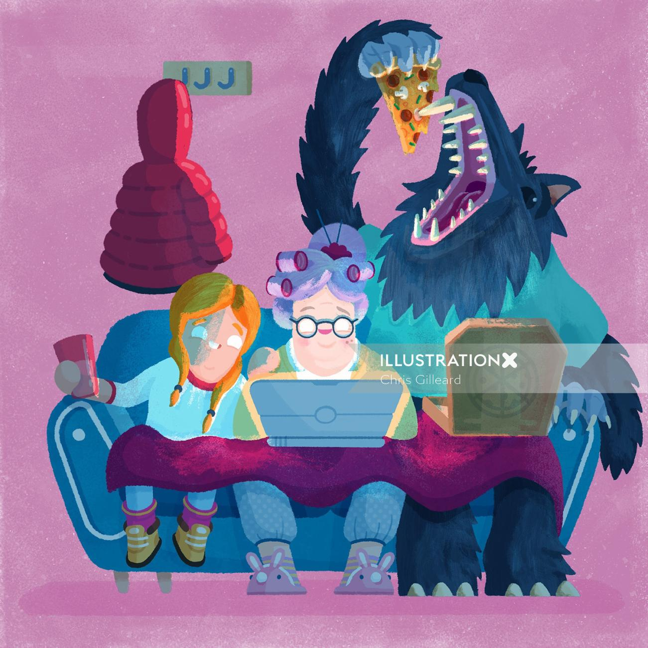 monsters and people working on laptop fairy tales