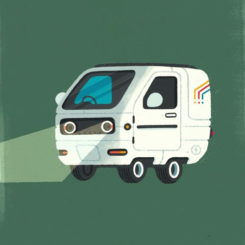 vector illustration of white car