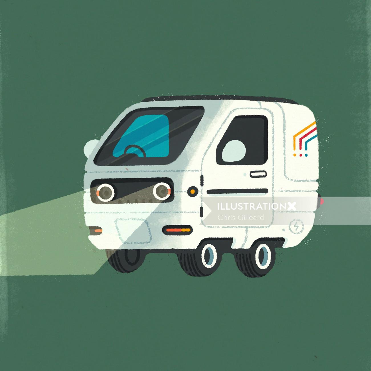 vector illustration of white car